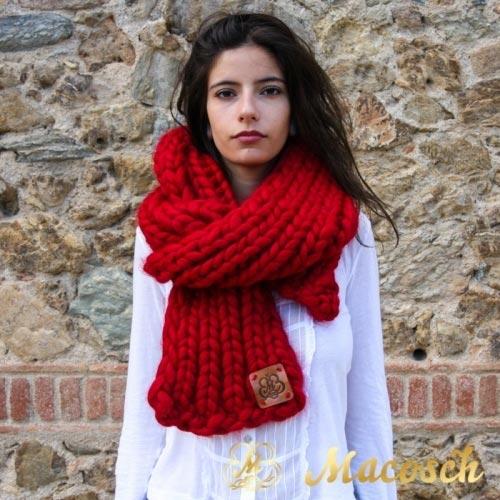 Bufanda larga punto grueso lana merino 100%